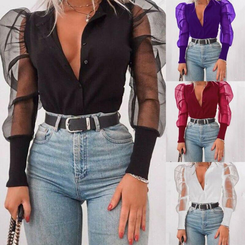 Meihuida Women Sexy Deep V-Neck Blouses Tulle Ruffle Long Puff Sleeve Shirt Solid Shirts Office Lady Hight Street Wear