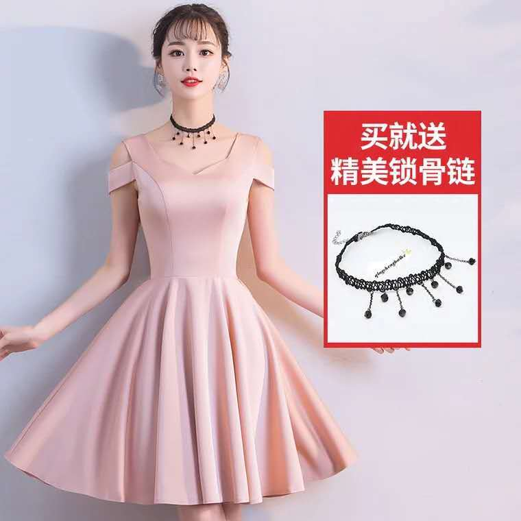 2019 New Style French Dress Simple And Elegant Banquet Evening Gown Shoulder Short Slim-Slimming Dress Autumn