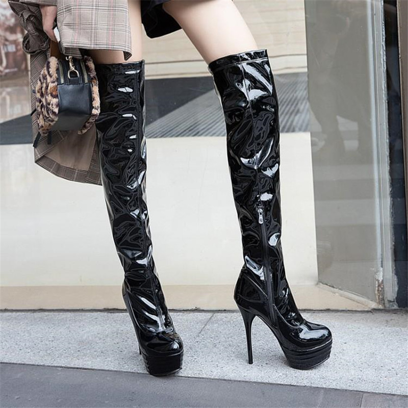 Red Over-the-knee <font><b>14</b></font> <font><b>cm</b></font> High <font><b>Heel</b></font> <font><b>Boots</b></font> Pole Dancing <font><b>Boot</b></font> Sexy Patent Leather White Black Female Platform Thigh High <font><b>Boots</b></font> Shoes image