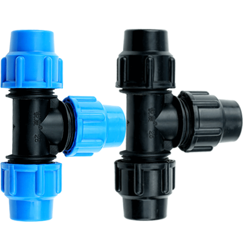 32mm Diameter Plastic Polypropylene Quick Connector T Type Blue Black Caps Adapter PE Pipe Fittings For Irrigation