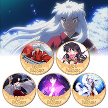 High Quality Inuyasha Gold Plated Coin Collectibles with Coin Box Japanese Anime Challenge Coins(China)