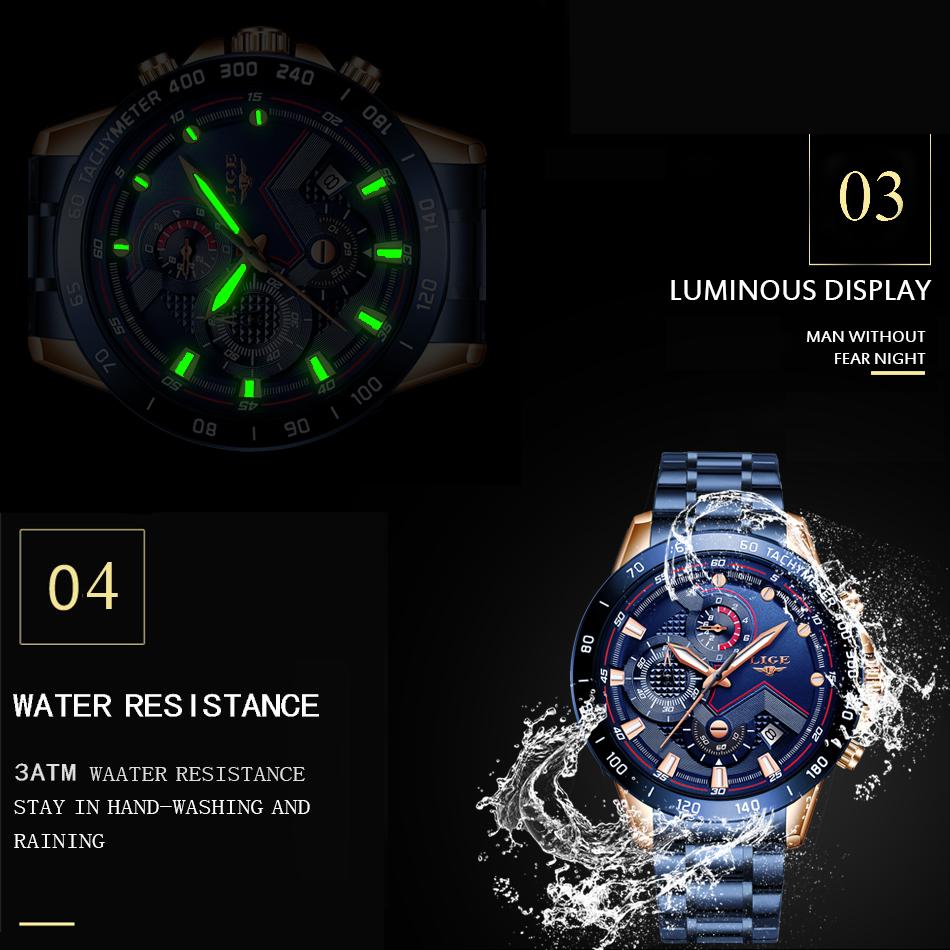 LIGE 2020 nuevos relojes de moda para hombre con Acero Inoxidable marca superior de lujo deportes cronógrafo reloj de cuarzo hombres Relogio Masculino 5