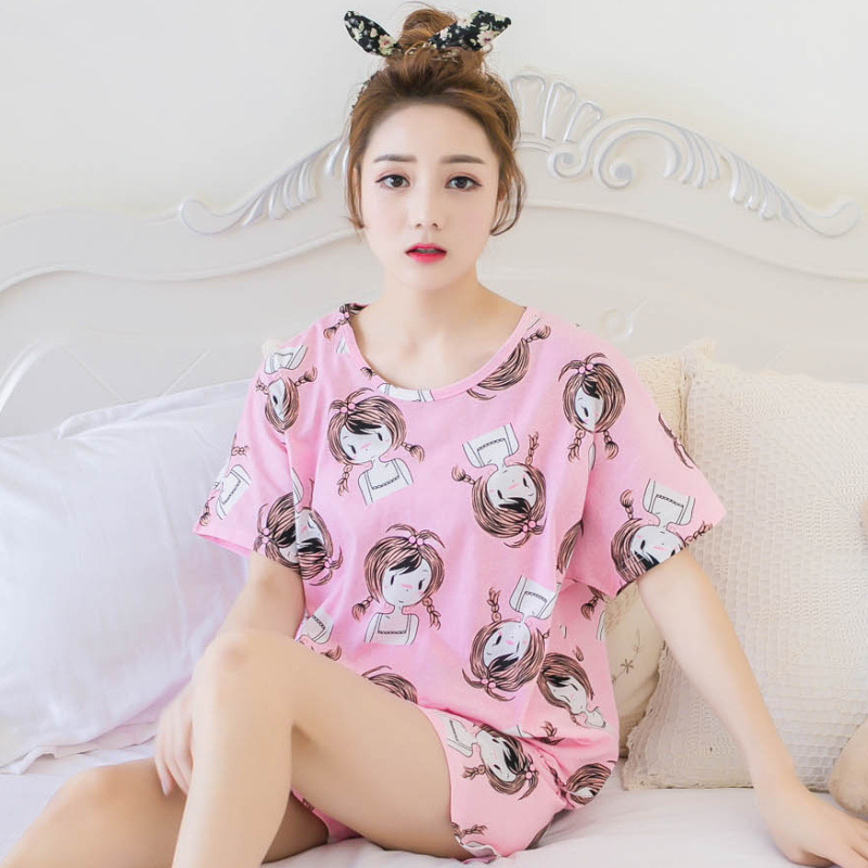 New Products Korean-style Summer WOMEN'S Short Sleeved Shorts Pajamas Sweet Cute Fashion Ladies Home Leisure Suit