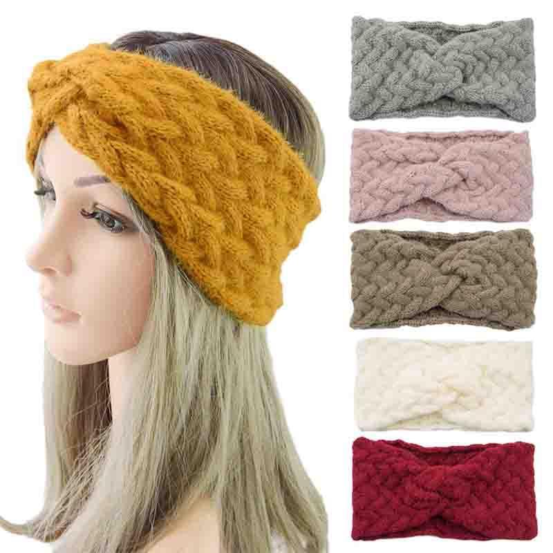 Повязка на голову женская зимняя, мягкий шерстяной перекрестный ободок, однотонный теплый тюрбан, аксессуары для волос, зимняя головная пов...