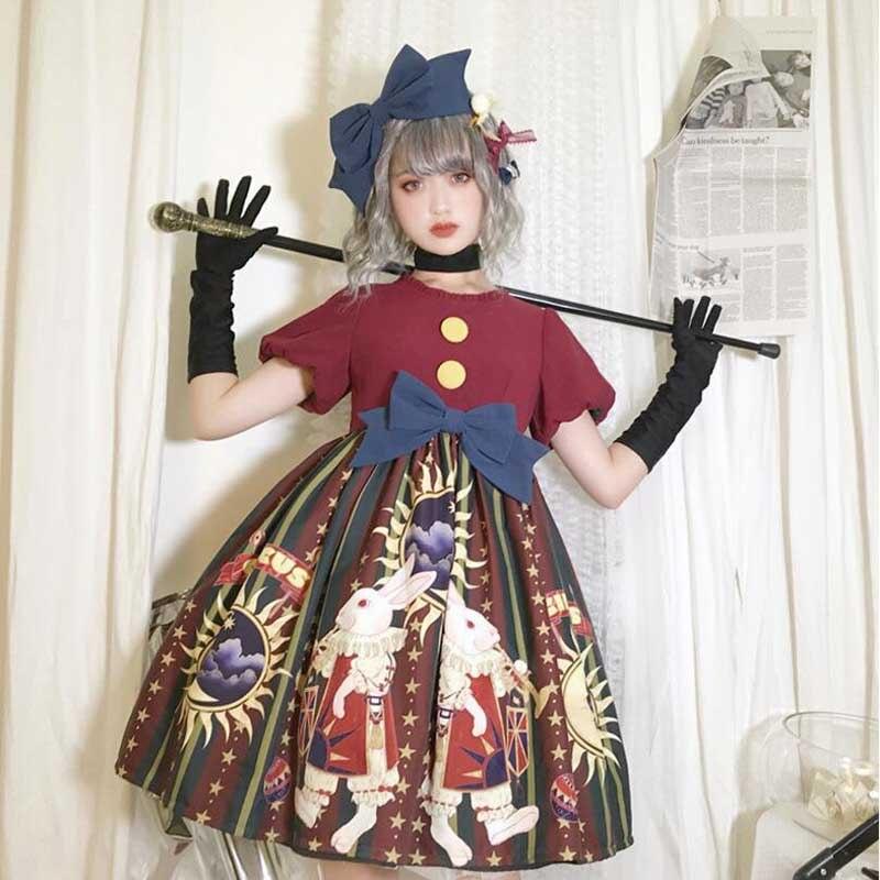 Винтажное женское платье Лолита косплей цирковой костюм с принтом Готическая принцесса свободное платье короткий рукав Рождественская