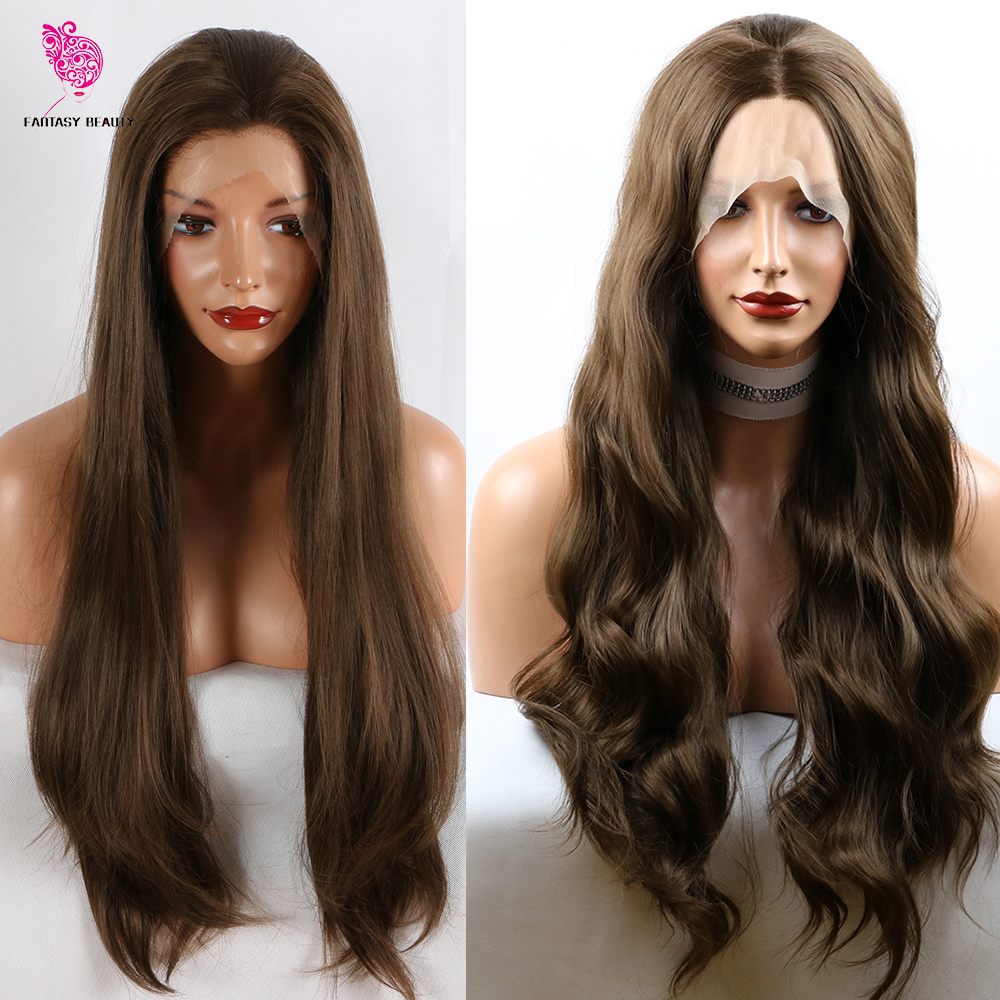Fantasy Beauty 180% Density Women 26 Inches Lace Front Wig Natural Brown Straight Wavy Heat Resistant Synthetic Hair Costume Wig
