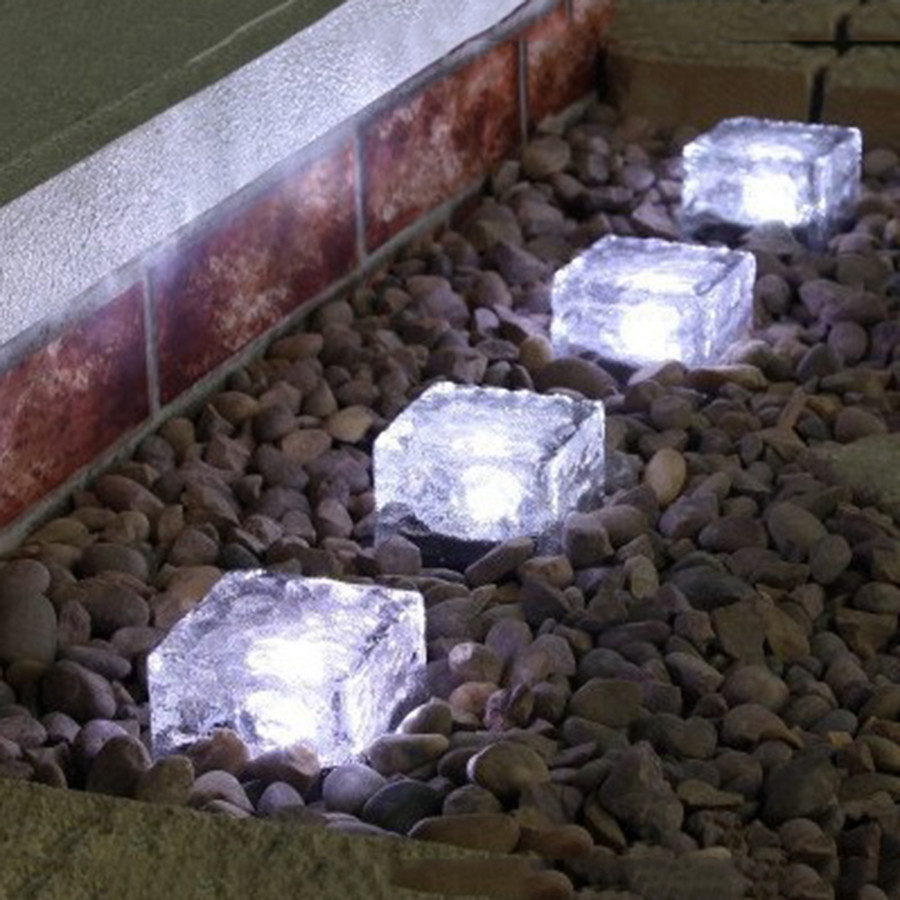 Thrisdar LED Solar Underground Lamp Solar Garden Deck Light Brick Ice Cube Path Floor Light Stair Lawn Deck Solar Buried Lamps