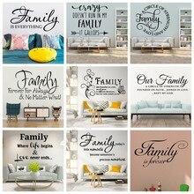 Beleza família é para sempre citação decalque da parede arte adesivos de vinil decoração sala estar quarto removível adesivo mural