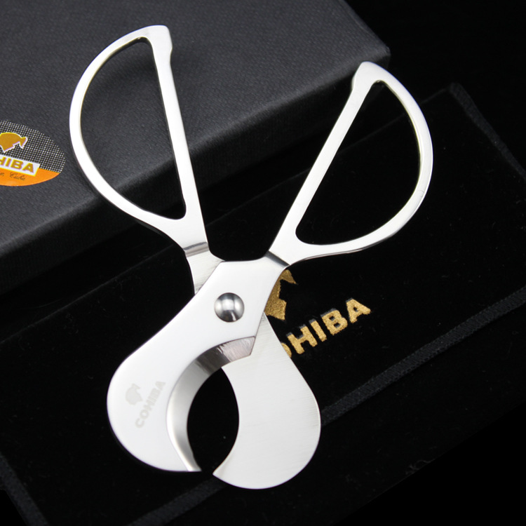 1pcs Cohiba Stainless steel Knife Silver Scissor Cigar Cutter The Knife Slice Scissor for Home Use Cigar Cutting Tool Portable
