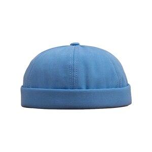 Men Women Skullcap Sailor Cap Solid Color Rolled Cuff Bucket Cap Brimless Hat Leather Adjustment Buckle Cotton Hats(China)