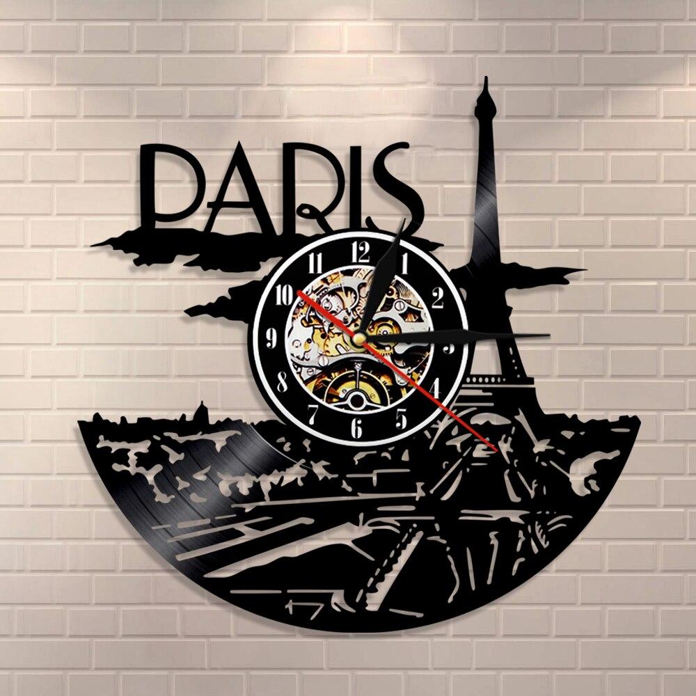 Paris Clock Vinyl Record Paris Skyline Wall Decor Paris Eiffel Tower Bedroom Decor Paris Wall Clock France Travel Gift For Her