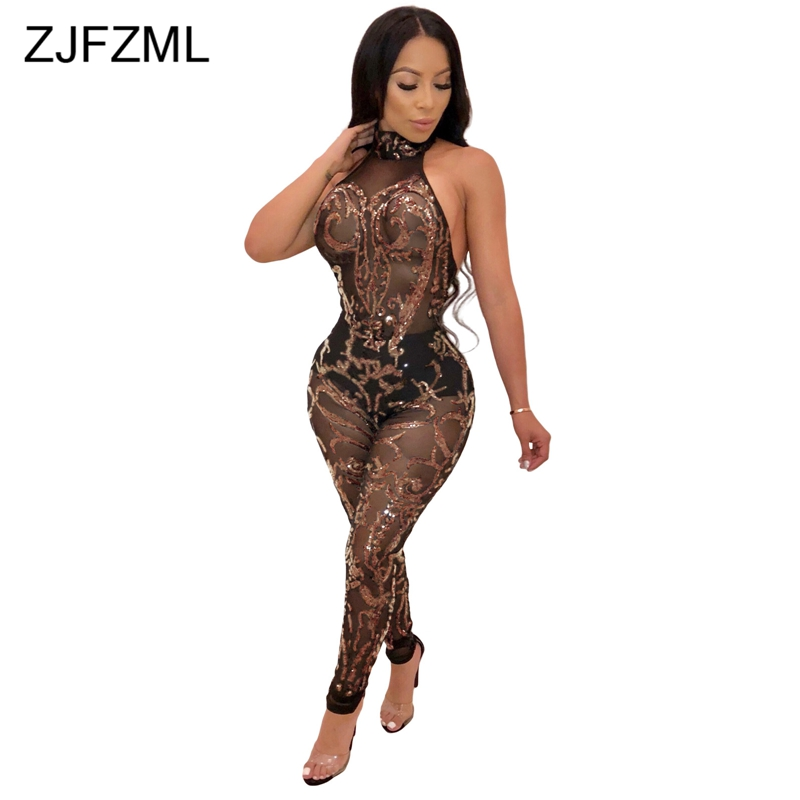 ZJFZML Open Back Rompers Womens Jumpsuit Gold Glitter Sequin Sleeveless Combinaison Femme 2018 Perspective Club Party Overall