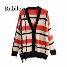 Rubilove Vintage Stylish Women Striped Plaid Cardigan Casual Female Sweater 2019 Autumn Girls Ribbon Decoration Knitwear