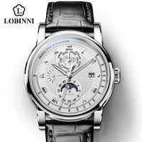 Vintage einfache stil Automatische Mechanische Schweiz Luxus Marke LOBINNI Uhr Männer Sapphire Wasserdicht herren Uhr Männlichen Uhr