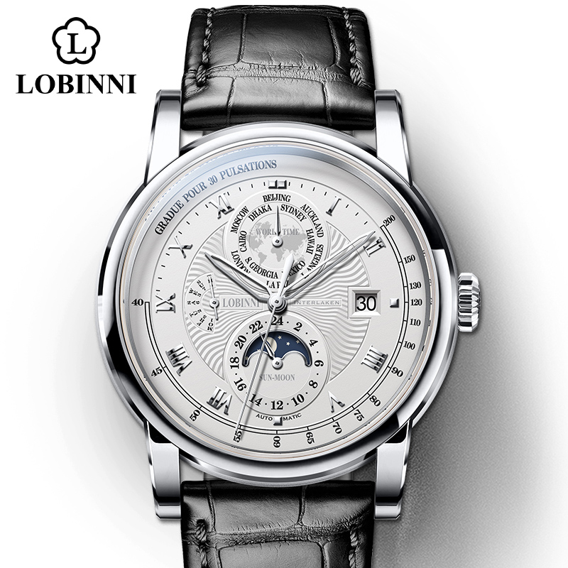 Vintage Simple Style Automatic Mechanical Switzerland Luxury Brand LOBINNI Watch Men Sapphire Waterproof Men's Clock Male Watch