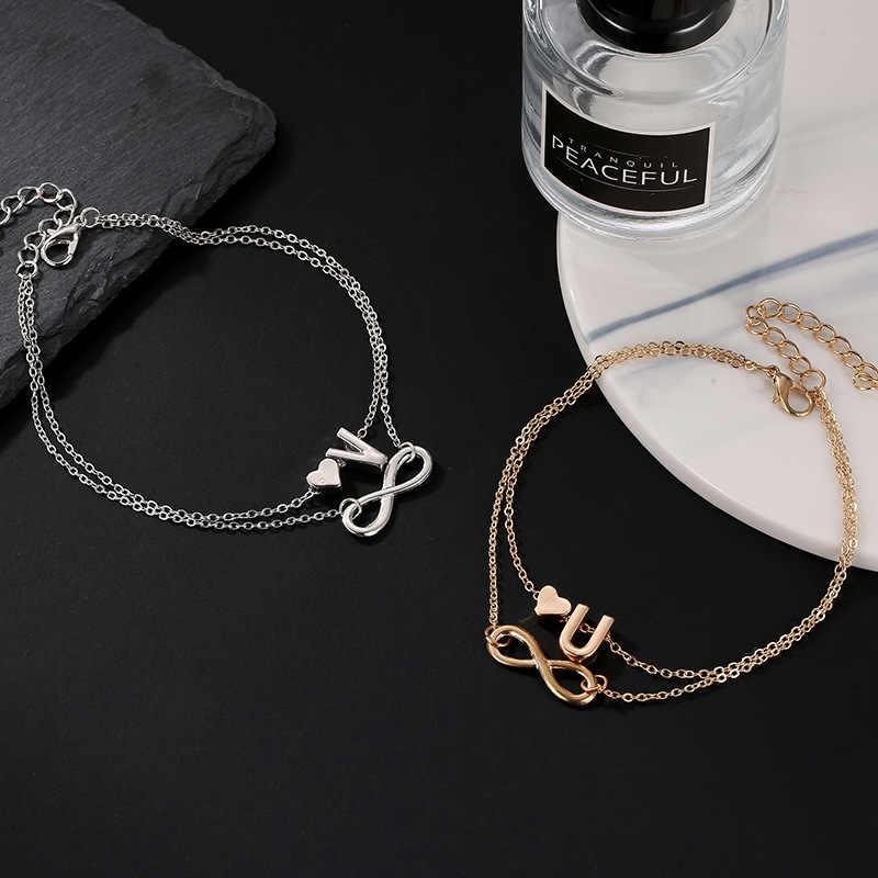 26 Huruf Infinity Cinta Gelang Kaki Alfabet Huruf Awal Nama Cinta Hati Double Layer Gelang Kaki Beberapa Perhiasan Cinta Hadiah