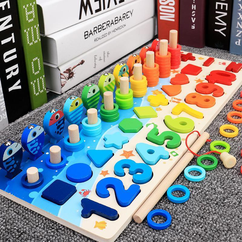 Brinquedos de madeira educacionais montessori para crianças, painel sensorial, matemática, pescaria, brinquedo de contar, geometria, pré-escola