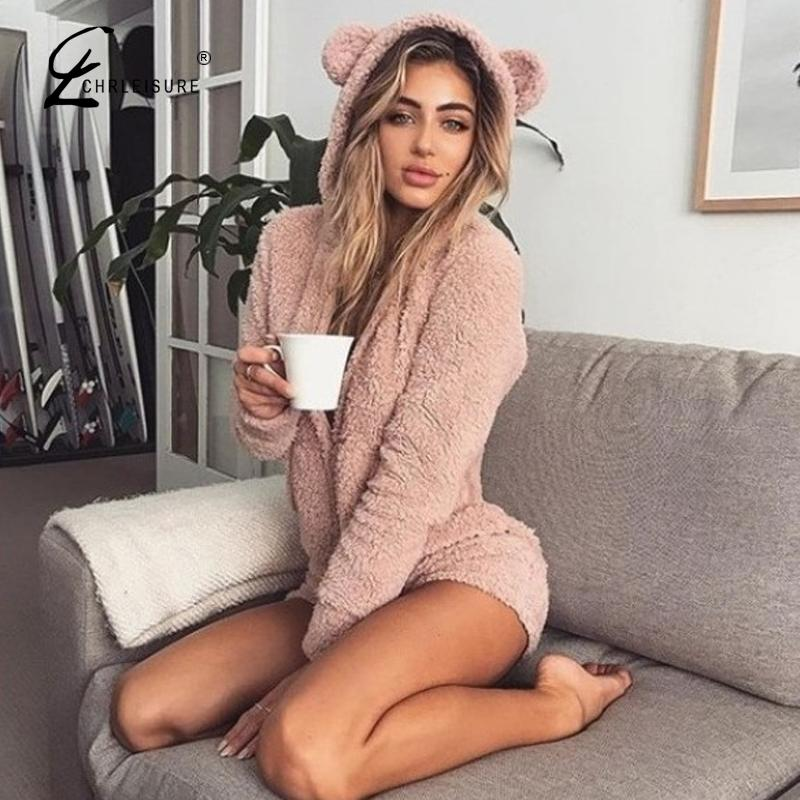 CHRLEISURE Autumn Keep Warm Velvet Women Rompers Long Sleeve Cute Bear Ears Hoodie Casual Winter Long Sleeve Siamese Shorts