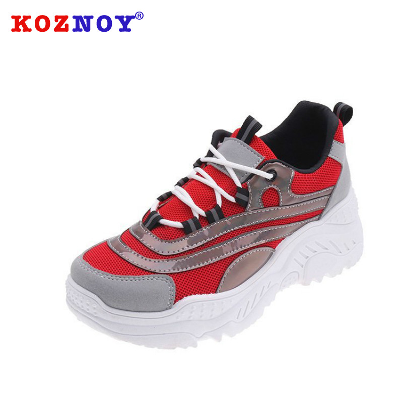 Koznoy Sneakers Women Autumn Fashion Dropshipping Thick Bottom Breathable Mixed Colors Fabric Round Toe Leisure Women Shoes in Women 39 s Vulcanize Shoes from Shoes