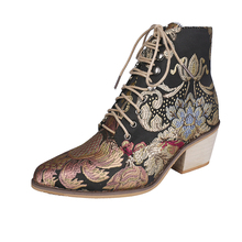 New exquisite plus size women's shoes spring and autumn ethnic style embroidered thick heel short