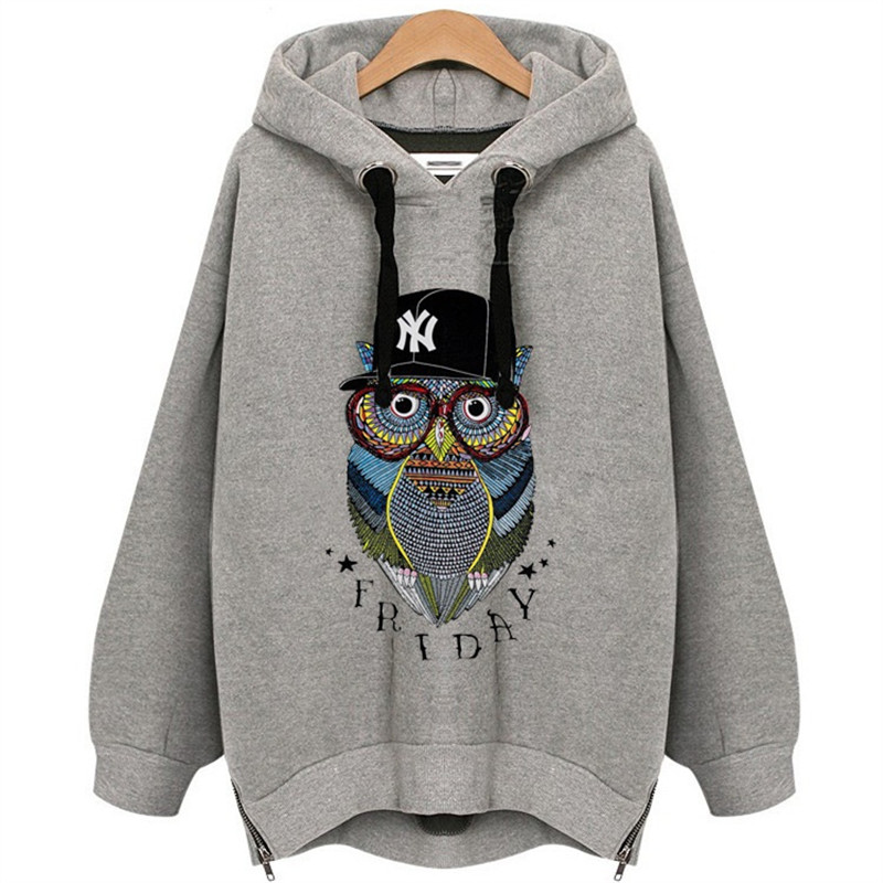 Autumn Winter Hoodies Sweatshirts Women Owl Plus Size Long Sleeve Pullover Thick Oversized Casual Hoody Female Clothes Kpop Tops
