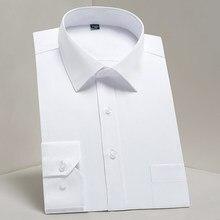 Clássico masculino manga longa padrão-ajuste camisas de vestido formal negócio social simples design básico branco escritório camisa casual