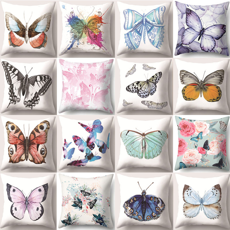 1Pcs Butterfly Printed Polyester Throw Pillow Cushion Cover 45*45cm Home Decoration Sofa Bed Seat Car Decor Pillowcase 40849