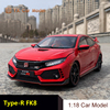LCD Diecast Car Model Honda Civic H Type-R fk8  1:18 alloy simulation car model(SMALL GIFT)