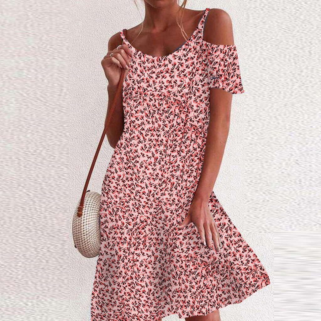 2021 Woman Summer Dress Sundress Boho Print Dresses For Women Beach Dress Casual Short Sleeve Office Lady Party Vestidos 11