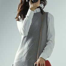 ATTYYWS Hot round neck tie sleeveless wool sweater ladies knit pullover high quality soft jacket cashmere vest spring and fall black high neck knit vest