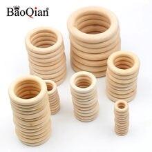 Círculo de madera Natural de 14 tamaños, artesanías para la fabricación de joyas de bebé, anillo de madera para la dentición, accesorios de adornos de juguete para niños
