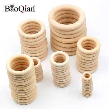 14 Size Natural Wood Circle DIY Crafts For Jewelry Making Baby Teething Wooden Ring Kids Toy Ornaments Accessories