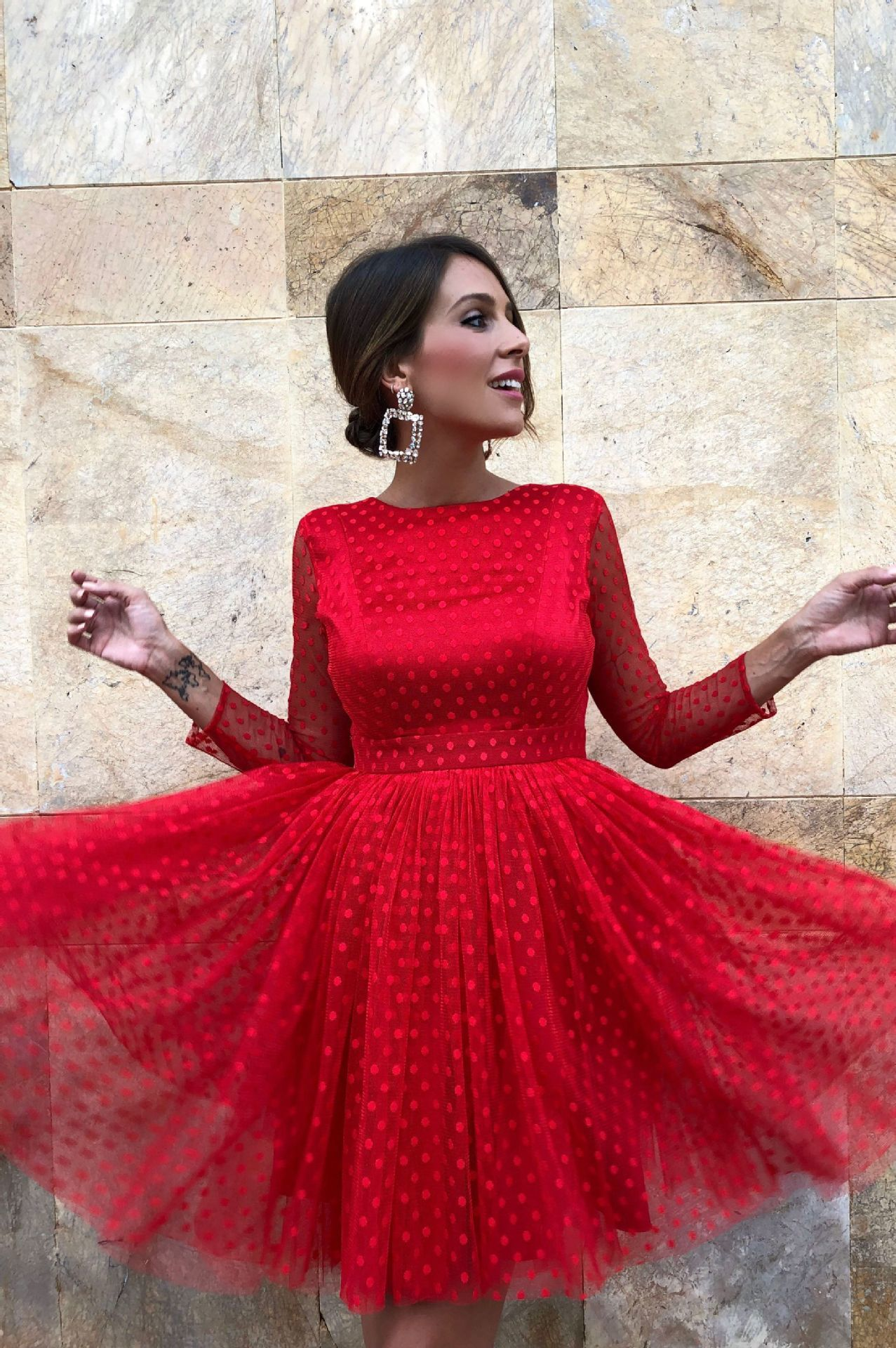 BacklakeGirls Sexy Scoop Neck Long Sleeve Wave Point Tulle Red   Cocktail     Dress   Cut Out Short Prom   Dress   Vestidos De Fiesta Corto