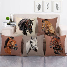 Animal pattern pillowcase decoration pillowcase simple wind pillow set art restoring ancient ways horse head linen pillow case