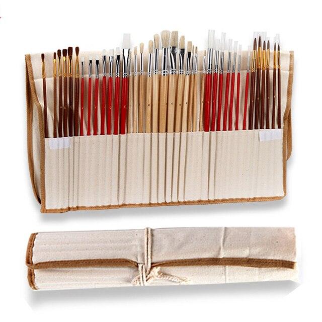 38 adet/takım boya fırçaları kanvas çanta durumda uzun ahşap saplı sentetik saç sanat malzemeleri için yağ akrilik suluboya resim