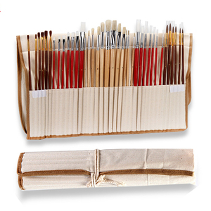 Image 1 - 38 pcs/set Paint Brushes with Canvas Bag Case Long Wooden Handle Synthetic Hair Art Supplies for Oil Acrylic Watercolor Painting