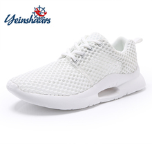 YEINSHAARS Fashion Mens White Casual Shoes Mesh Sport Comfortable Running Sneakers Men Mocassin Homme Lace Up Breathable