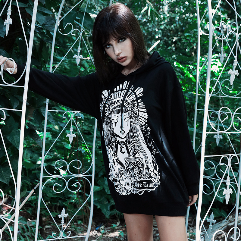Gothic Black Women Long Sleeve Drawstring Witch Pinting Long Hooded Tops Winter Goth Punk Female Dark Streetwear Loose Hoodies