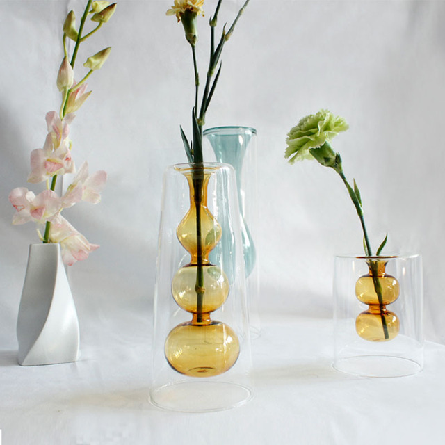 Strongwell Nordic Amber Hydroponic Double-Layer Glass Vase Ripple Vase Gourd Shape Dried Flower Vase Art Home Decoration Gift 2