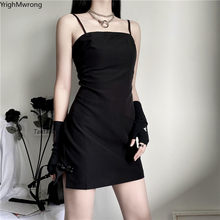Party Vintage Women Off Shoulder Spaghetti Strap Split Cheongsam Button Black Mini Elegant Dress Bodycon High Waist Gothic Korea(China)