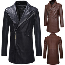 Diagonal Zipper Large Lapel Trench Coat Mens Casual Slim Long Leather