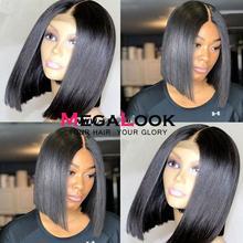 Megalook Ким К парик закрытие парик прямой 2by6 короткие человеческие волосы парик Боб кружевные парики бразильские волосы парики Короткие натуральный цвет Remy