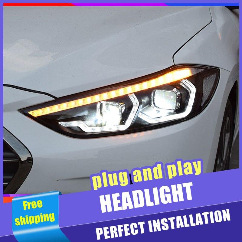 2 pièces voiture Style LED phares pour Hyundai Elantra 16-19 pour Elantra lampe frontale DRL lentille Double faisceau H7 caché xénon bi xénon lentille