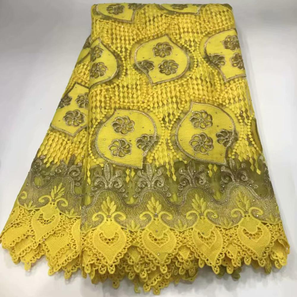 yellow African Lace Fabric 2020 Embroidered Nigerian Lace Fabric High Quality Cord lace French Tulle Lace Fabric Wedding