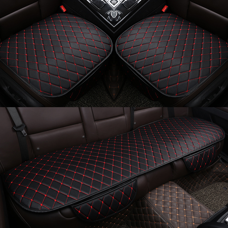 Universal Car Leather Seat Cover Set Front Rear Backseat Cushion Auto Car Chair  Seat Protector Mat Pad Car Interior Accessories|Automobiles Seat Covers| |  - title=