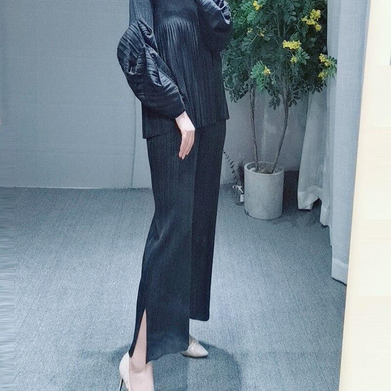 MIYAKE dobrar PP série de tamanho grande das mulheres desgaste fino reta calças dividir cores nove cor calças calça casual livre grátis - 3