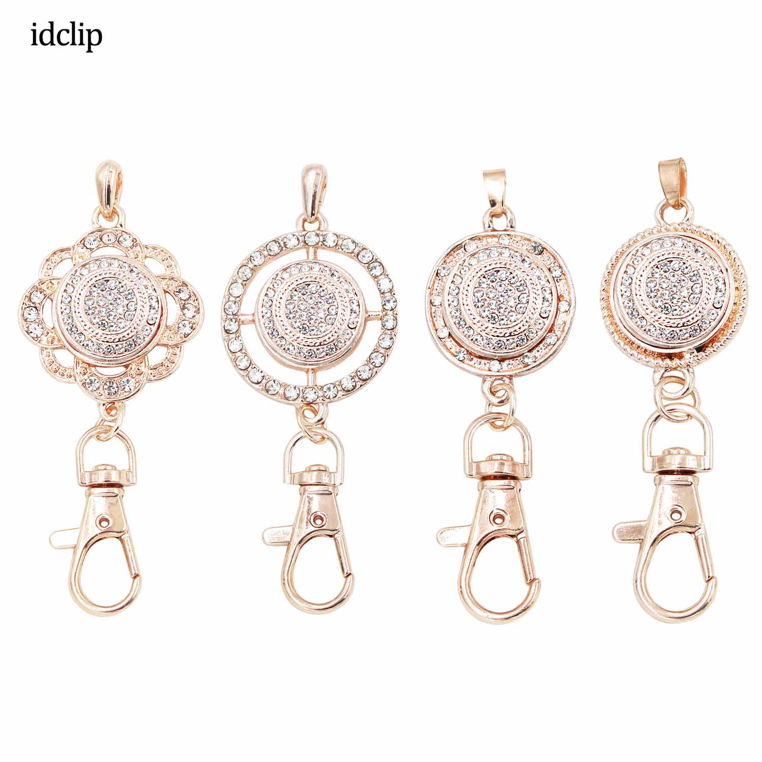Idclip Gold Diamond Lanyard Badge Holder Necklace Snap Jewelry Charms Pendant Clip Office ID Holder