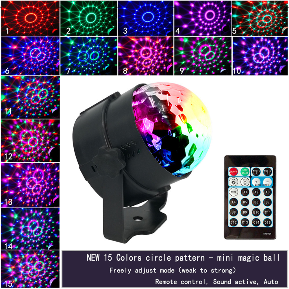 Sound Activated Rotating Disco Ball Party Lights Strobe Light 5W 15 Colors LED Stage Lights For Christmas Home KTV Xmas Wedding
