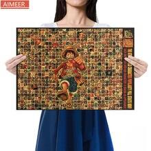 AIMEER-figura de Anime de One Piece Luffy, colección de personajes de Avatar Retro, póster de papel Kraft, decoración de dibujos animados para el hogar, pintura Core51.5x36cm
