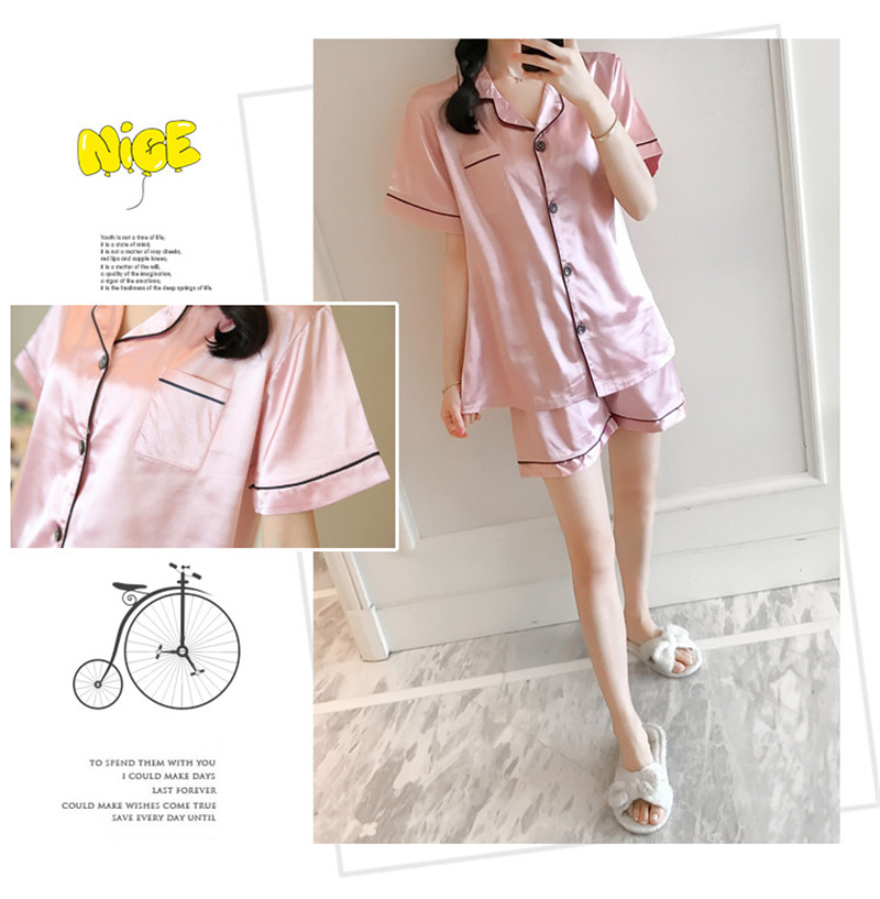 H42ace336b5ed41c2b9cbe1e70f861a6cc - JULY'S SONG New Spring Summer Women Faux Silk Pajamas Set Simple Pure Color Leisure Nightwear Short Sleeves Sleepwear